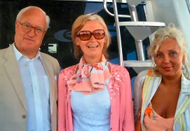 Michael Wynne-Parker with Kristina Oljand and Irina Korgesaar - Presidential Boat, Tallinn, July 2005