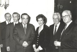 Michael Wynne-Parker with Prime Minister Samadov of Tajikistan and Lord Rix 1991